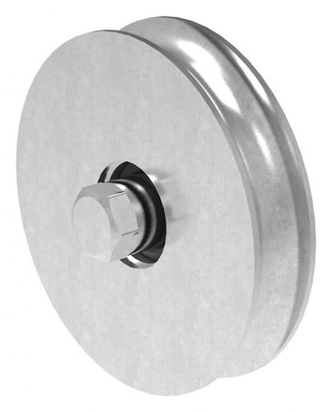 Schiebetorrolle 117mm mit rund Rille