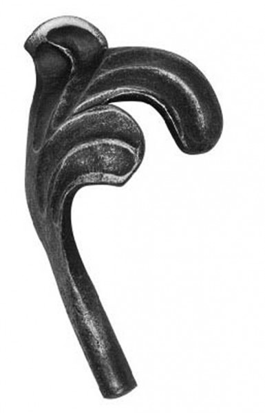Ländliches Barock Blatt, Ansatz 10mm, 110x60mm, rechts