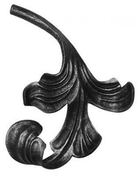 Ländliches Barock Blatt, Ansatz 12mm, 140x160mm, rechts