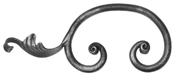 Barock C-Schnecke 12mm, 110x270mm, mit Blatt links