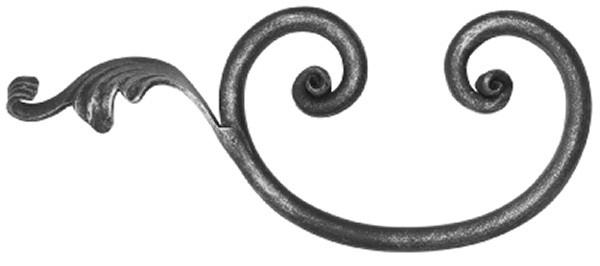 Barock C-Schnecke 12mm, 110x270mm, mit Blatt rechts