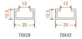 C-Profil AP-5 für TXK29/42 konfektioniert, cm-Preis