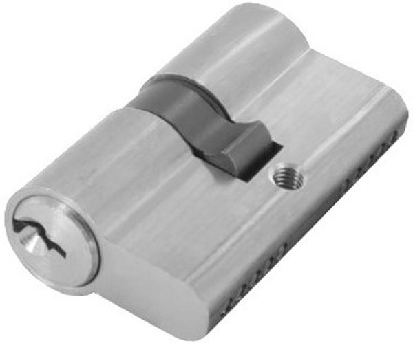 Profilzylinder aus Messing in Edelstahloptik mit 3 Schlüssel