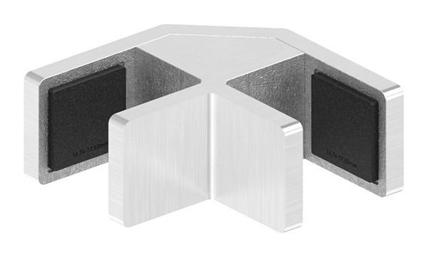 90° Eckglasklemme für Ganzglasgeländer für Glas 16,76 - 17,52mm