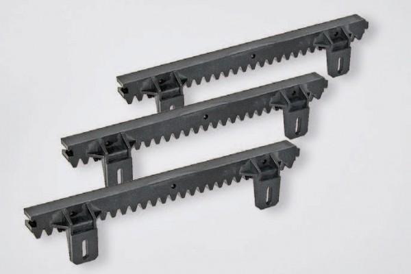 Zahnstange Kunststoff mit Stahlkern, 3 geteilt, Lasche unten