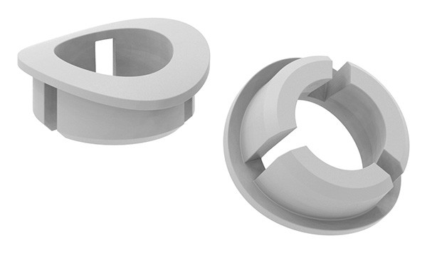 Steckmuffe aus Kunststoff für 12mm Rundstäbe passend für Vierkantrohre